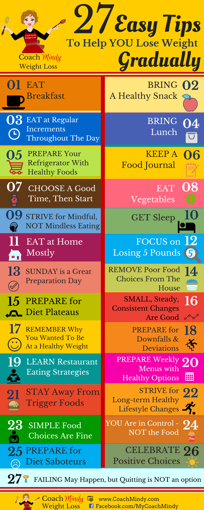27 easy tips to help you lose weight gradually in a form of infographic so you can take it with you